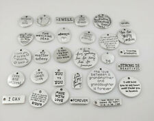 About 30 pcs Inspiration Words Charms Pendants for Crafting Silver Tone