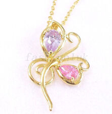 Women Girl New 14K Yellow Gold Plated CZ Cubic Zirconia Butterfly Chain Necklace