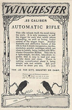 1910 Winchester Ad .22 Calibre Automatic Rifle Crows Blackbirds Country Camp