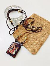 Escapulario Virgen de Guadalupe con bolas de Oro Laminado 14k hecho a mano