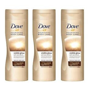 3 x Dove Visible Glow Self Tan Moisturiser Body Lotion Medium to Dark Skin 250ml