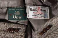 Harris Tweed Orvis Men's Taupe Herringbone 3 Btn Sport Coat Jacket Blazer 46L