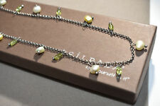Silpada Necklace Oxidized Sterling Silver, Freshwater Pearls and Peridot - N1373