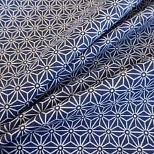 Stoff Baumwolle Japan Asanoha Grafik indigo blau weiß Retro gemustert Meterware