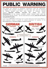 WW2 Affiche A3 British German Fighter avions bombardiers d'identification reproduction