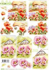 Poppy & Cottages Die Cut 3D Decoupage Sheet Card Paper Craft NO CUTTING REQ