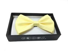 Light Yellow Men Women Bowtie Classic Clip-On Neck-wear Tuxedo Adjustable