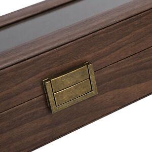 6 Slots Wooden Watch Display Storage Box Jewelry Organizer Case Supplies Holder