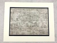 1920 Antique Print Pieter Bruegel The Elder Kermesse at Hoboken Painting