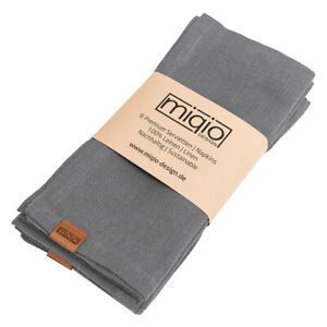 MIQIO® 6er Set Leinenservietten Stoffservietten 100% Leinen Tischservietten