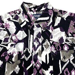 B89 VTG Wrangler Purple Geometric Cowboy Cut Btn Dwn Mens 16.5 100% Cotton