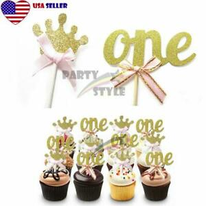 24pcs Gold Glitter Cupcake Toppers Pink Bow For Girl Baby 1st Birthday Party