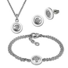 Amello Edelstahlschmuckset Keramik rund Zirkonia Kette Armband Ohrring ESSX31W