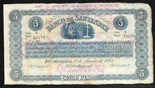Coumbia 1873 Banco de Santander 5 Pesos S-832b