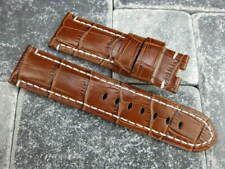 24mm Antique Brown Deployment Strap Alligator Grain Leather Watch Band PANERAI