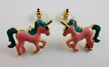 Unicorn Earrings Gold Tone Metal Posts For Pierced Ears Mythical Magical