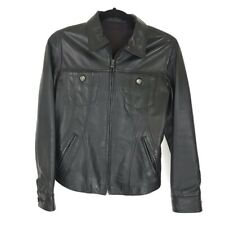 Zu Elements Women's Black Leather Lined Moto Jacket Size Small
