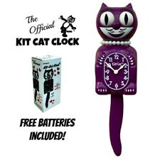 "Boysenberry Lady Kit Cat Clock 15.5"" Violeta Gratis Batería Eeuu Hecho Kit-Cat"