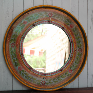 Indien Handcrafted painted Round Iron Mirror frame Rustic hand painted frame