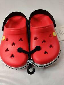 Crocs  J2 Disney Junior Size 2  Red Mickey Mouse Crocband Clogs Beach Cutout New