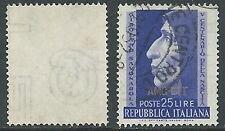 1952 TRIESTE A USATO SAVONAROLA FILIGRANA LETTERA - L4