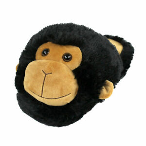 Fuzzy Monkey Slippers - Black and Brown Slippers for Men and Women
