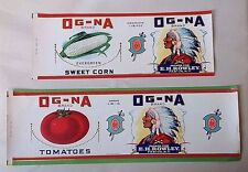 Vintage unused canned goods can labels Og-Na Native American general store NOS