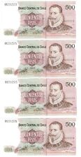 CHILE 4 CONSECUTIVE 500 Pesos XF Banknote (1998) P-153e HA Prefix Paper Money