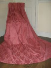 "HUGE VINTAGE SINGLE DOOR CURTAIN COTTON BROCADE DAMASK ROSE PINK 62"" X 84"""