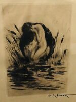 "Louis Icart ORIGINAL etching, ""LEDA AND THE SWAN"" Rare Limited Edition With COA!"