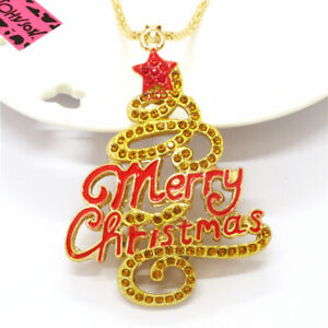 Hot Betsey Johnson Yellow Enamel Christmas Tree Crystal Pendant Chain Necklace