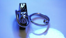 Big Black Silver Tone Metal Ring Size 7.5/8.5