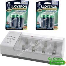 Lloytron Cargador Universal + 4 Baterías Recargables Tamaño D 3000 mAh HR20 LR20
