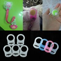 5Pc Silicone Adapter Button MAM Ring Dummy / Pacifier Holder Ribbon Clip