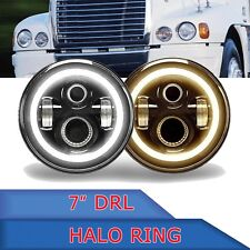 For Freightliner Century Class Headlight LED Halo Angel Eye DRL Light 7inch 2Pcs