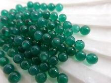 4 x 4mm Half Drilled Green Onyx Round Beads Halfdrilled Gemstones       (GB1161)