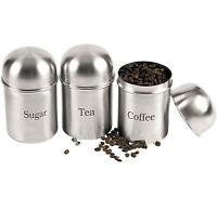 3 x Stainless Steel Silver Tea Coffee Sugar Kitchen Storage Canister Jar Pot Set