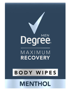 Degree Men Maximum Recovery XL Body Wipes, Menthol, Pack of 10