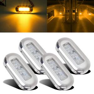 """4pcs 3"""" Amber Marine Boat LED Oblong Courtesy Lights Stair Deck Garden Lighting"""