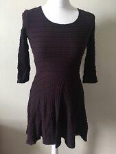 Topshop Plum Purple Skater Dress Size 6 Fitted Autumn