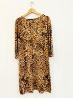 Designer Lord & Taylor VTG 1980s Animal Print Knit Wool Shift Women's Dress