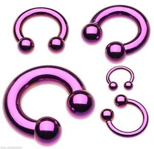 """Horseshoe Heavy 10 Gauge 1/2"""" Titanium IP Purple 6mm Balls Body Jewelry"""
