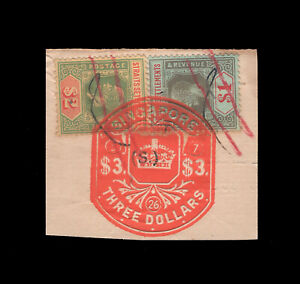 Straits Settlements KGV $1 & $2, fiscally used in Singapore.