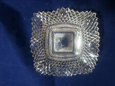 Vintage 7 In Square Ashtray Delicate Candy Dish Diamond Cut Crystal Clear Glass