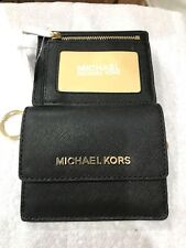 MICHAEL KORS JET SET CARD CASE ID KEY HOLDER MINI WALLET BLACK SAFFIANO LEATHER