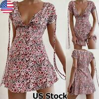 Summer Womens Floral V Neck Sundress Ladies Casual Short Sleeve Party Mini Dress