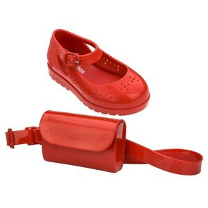 NWT MINI MELISSA Com Pochete BB Sandal Belt Bag Set Enamel Red 32697 US 5