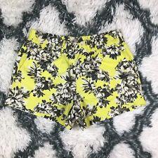 J.Crew Women's Floral Pattern Shorts Size 4 Stretch Band Yellow Grey White