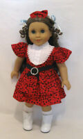 """DOLL CLOTHES - RED RUFFLED DRESS - FITS AMERICAN GIRL AND MOST 18"""" DOLLS"""