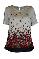 Women Ladies Chiffon Layer Ivory Poppy Floral Print Short Sleeve Lined Top 8 &12